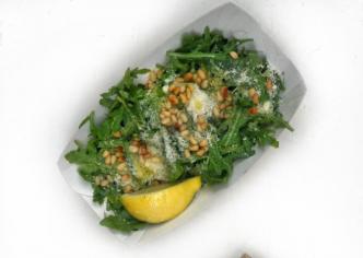 Салат з руколою (рукола / листя салату / пармезан / кедрові горішки / оливкова олія)