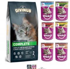 Divinus Cat Complete 2kg+Whiskas 6x400g Mix smaków