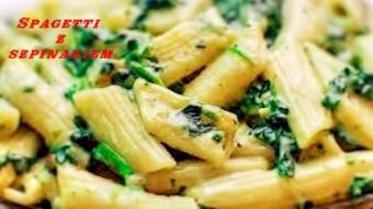 Spagetti  con spinaci e polo