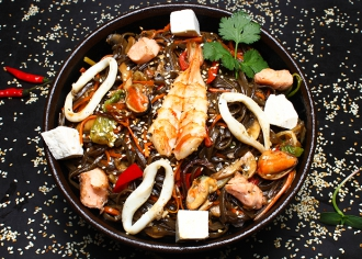 Локшина Гречана з морепродуктами