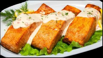 Філе лосося під вершково-ікорним соусом