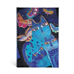 Laurel Burch, Blue Cats & Butterflies, midi, lined, 9781551563978