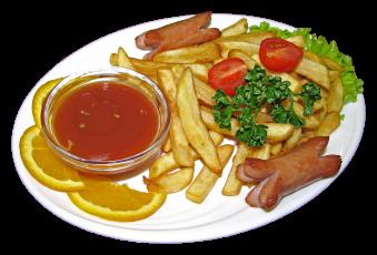 16 Картофель фри с сосисками и кетчупом / FRIKARTUL JA VIINERID